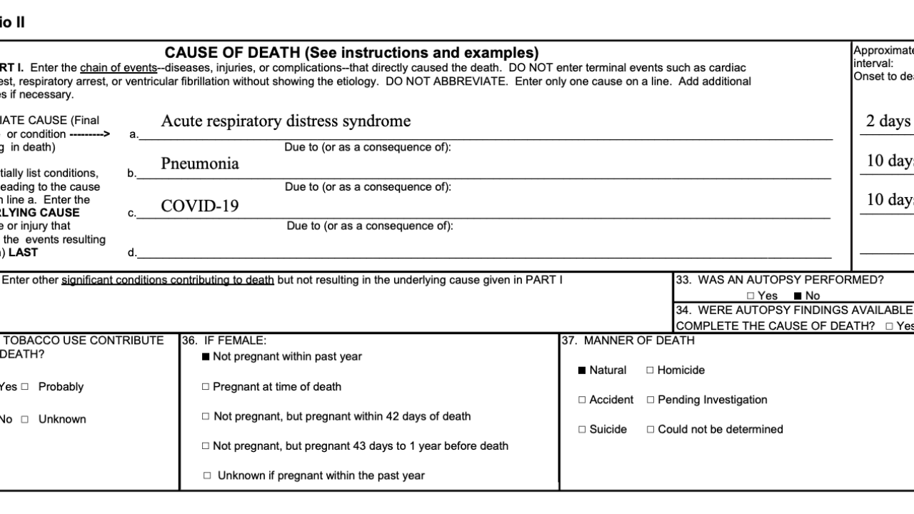 CDC Cause of Death Report Example 2