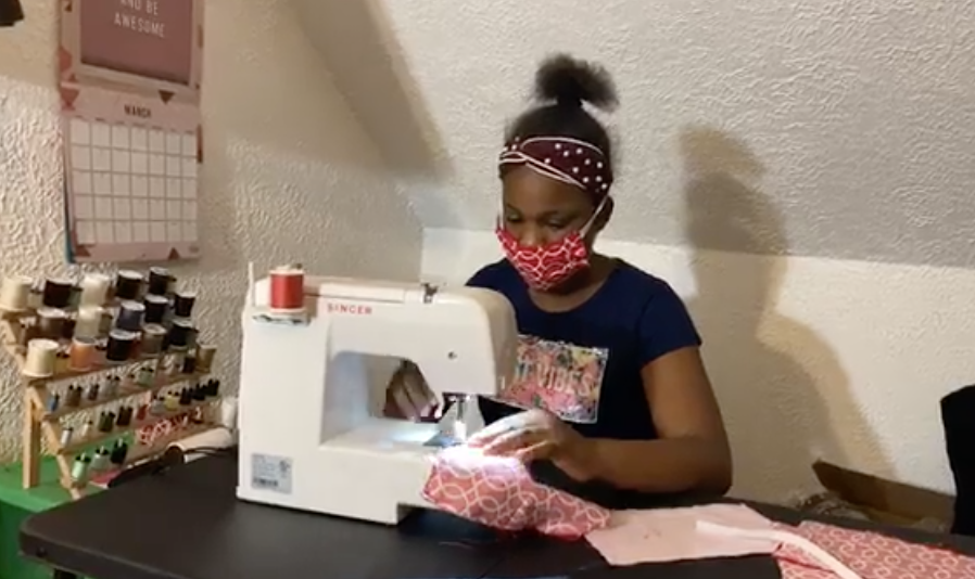One Cleveland girl has been busy sewing masks.