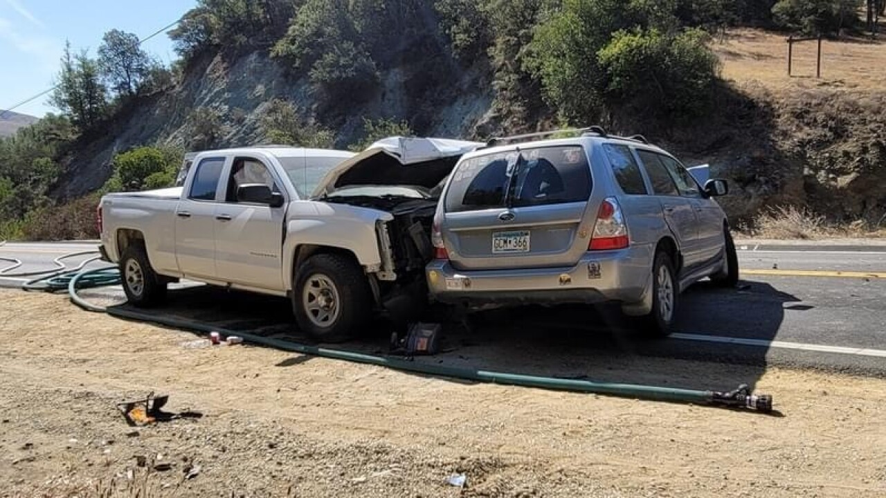 At least three vehicles were involved in a head on collision in Atascadero
