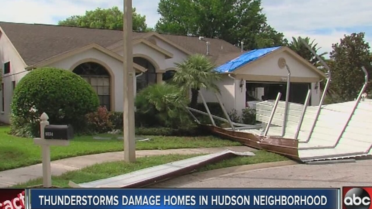 Storm sends carport flying through the air