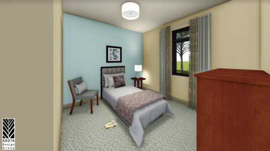 Room at state of the art facility with bed, dresser and chair