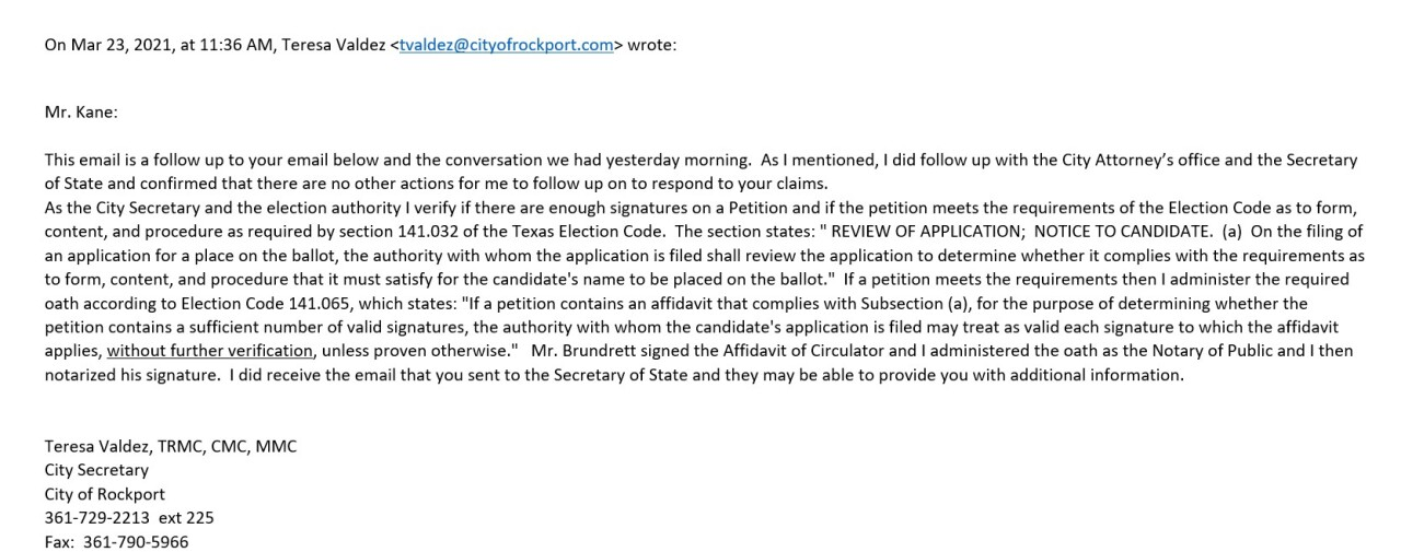 City Secretary email