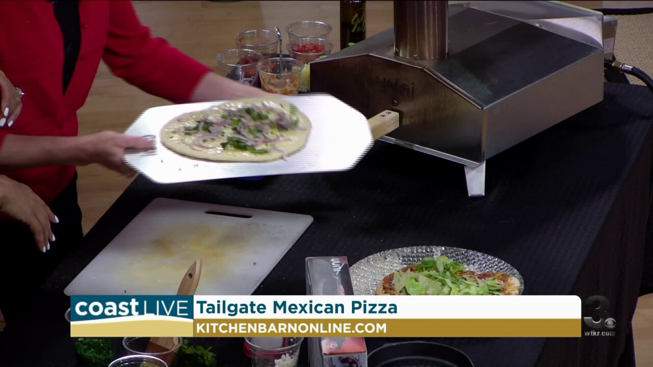 Making tailgate pizza with Chef Jacqui on Coast Live