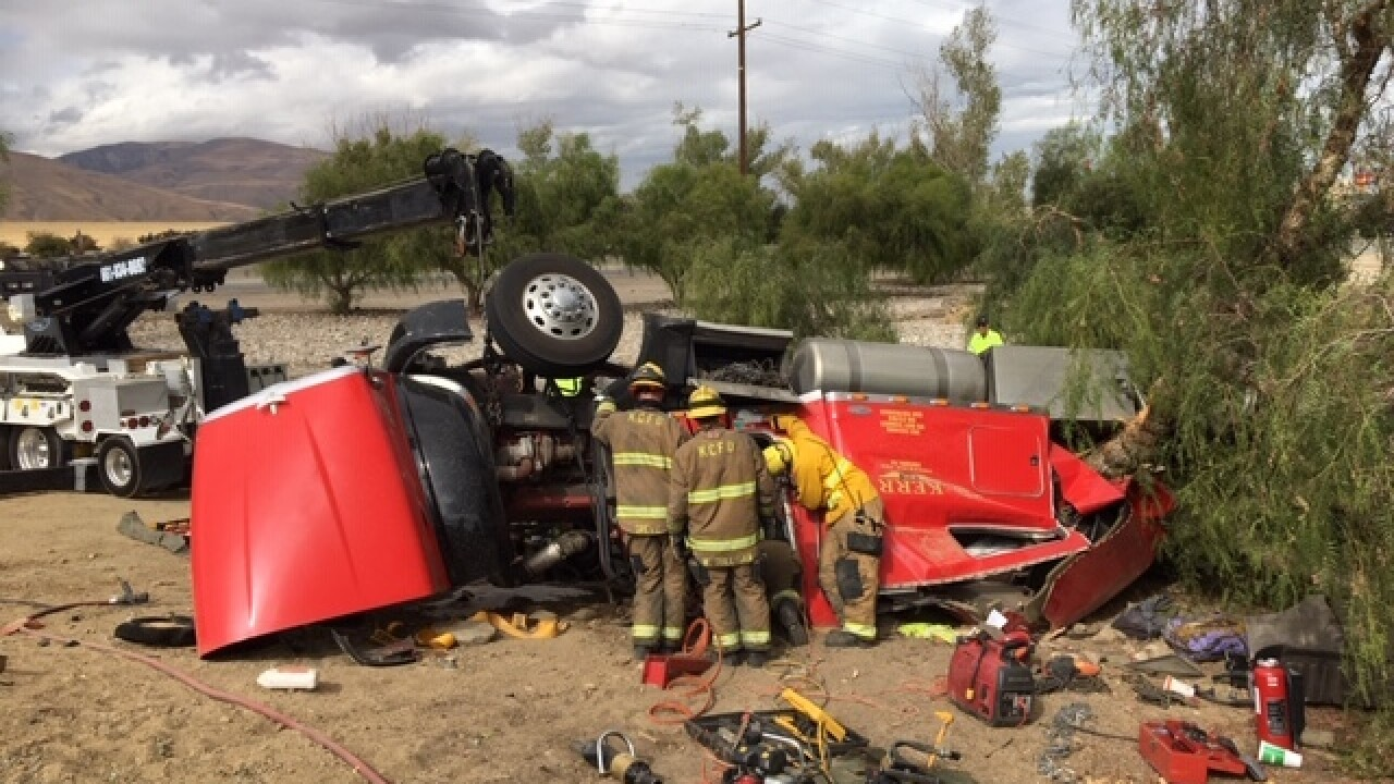 Kern County Fire rescues man from semi-truck after crash on Northbound I-5
