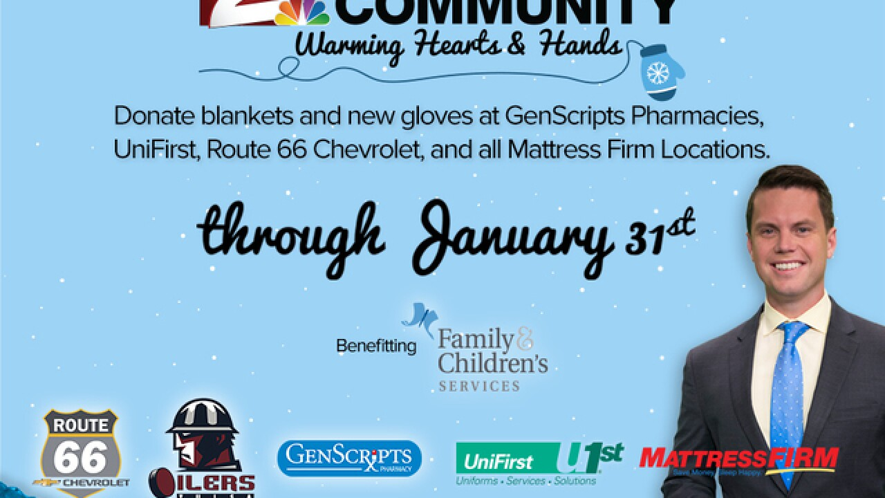 DONATE: Blankets and new gloves or mittens