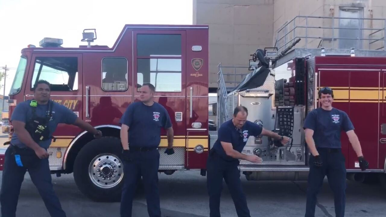Video shows Salt Lake City firefighters try to 'floss' during youth program