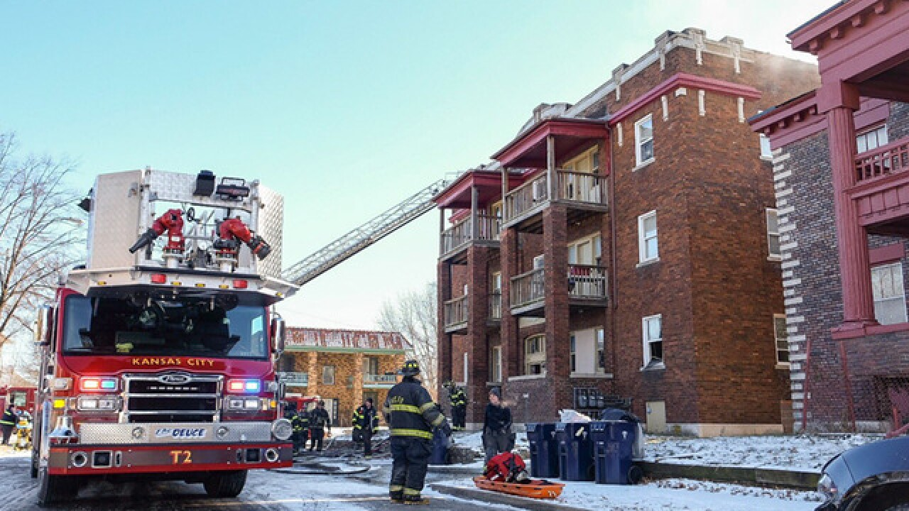 Crews working two-alarm apt. fire in east KC
