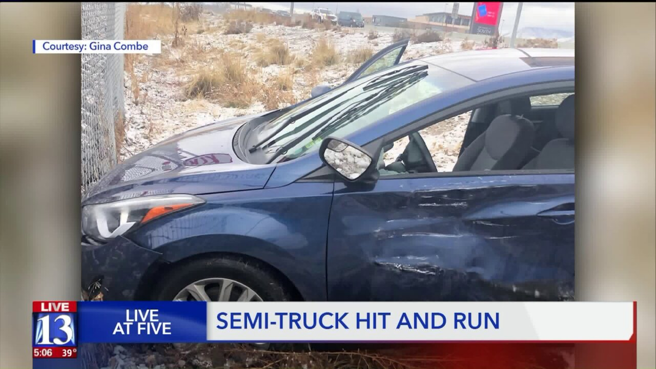 Woman says semi driver took off after slamming into her car onI-15
