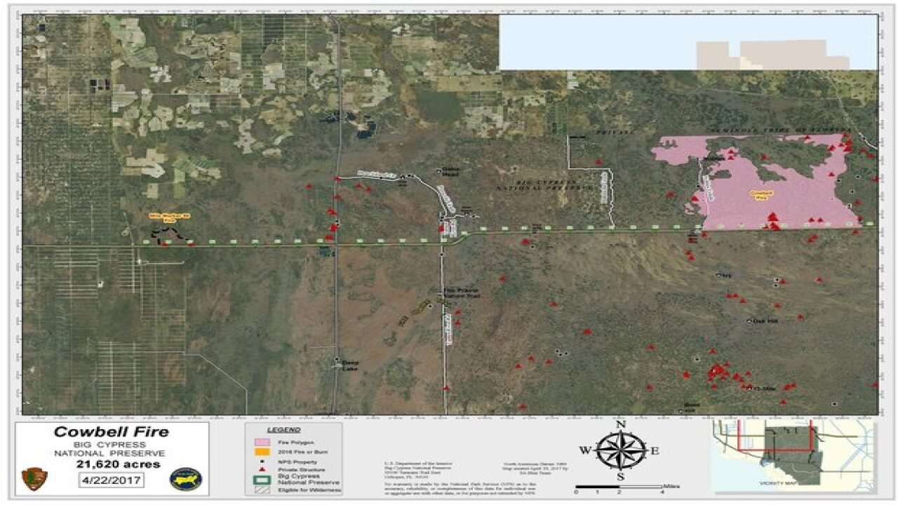 Collier County Wildfire Map.Big Cypress Fire Now Up To 75 Containment