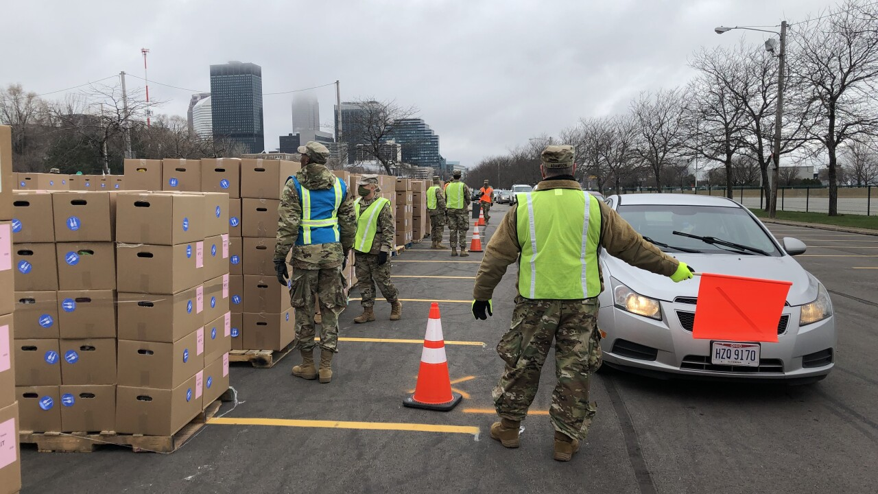 National Guard helping distribute food at the Cleveland Food Bank