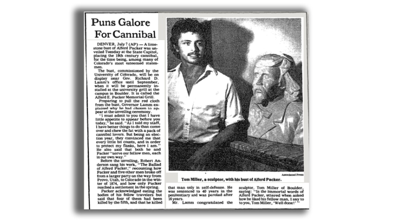 Alferd Packer bust at Colorado Capitol_New York Times_July 8, 1982, section B page 17.png