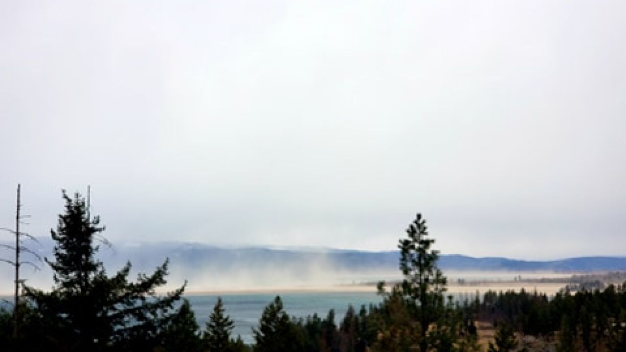 High winds blowing sand and spray across Flathead Lake (courtesy: Dale Gnarwhale)