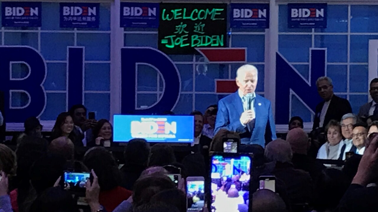 Vice President Joe Biden held a rally in Chinatown Tuesday for supporters ahead of Nevada's Caucus.