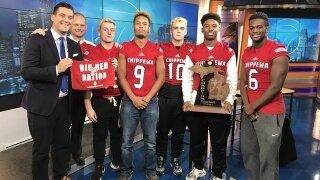 State champions in the house: Chippewa Valley captains visit WXYZ