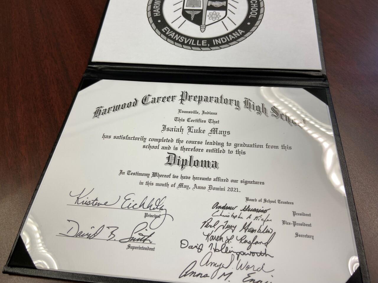 Isaiah Mays' diploma.  PHOTO CREDIT: Machelle Mays