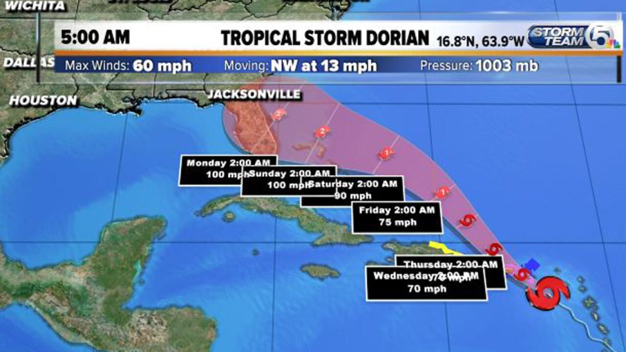 Tropical Storm Dorian forecast to become Category 2 hurricane