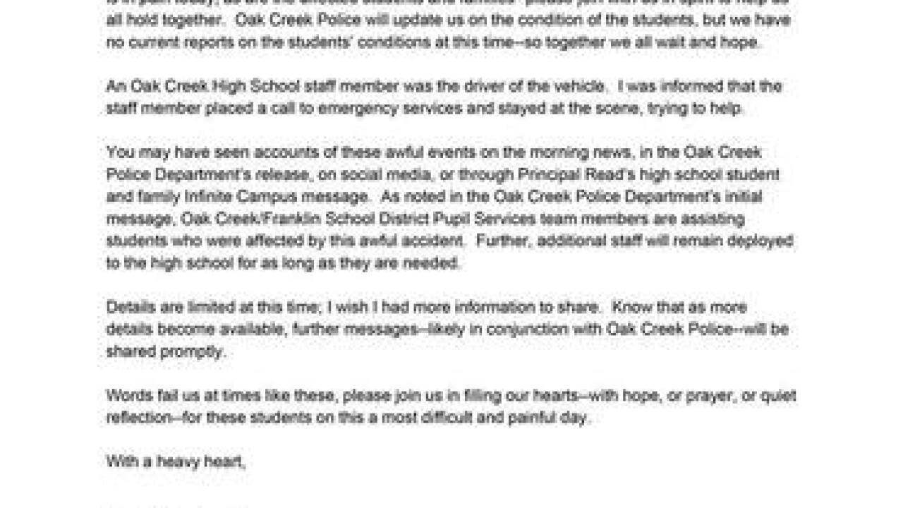 2 Oak Creek HS students hit by car