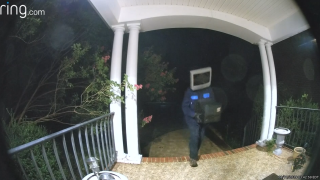 A person with a TV on their head dumped old television sets on people's doorsteps in Virginia