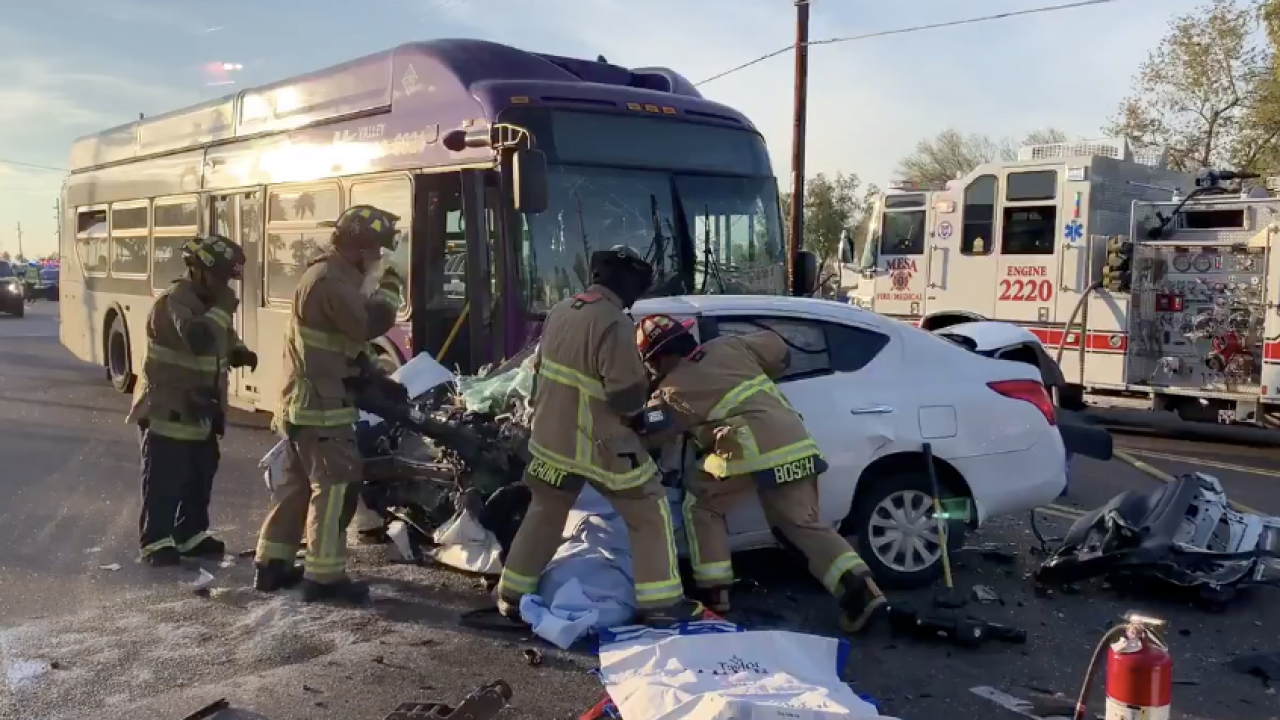 Crash involving city bus in Mesa
