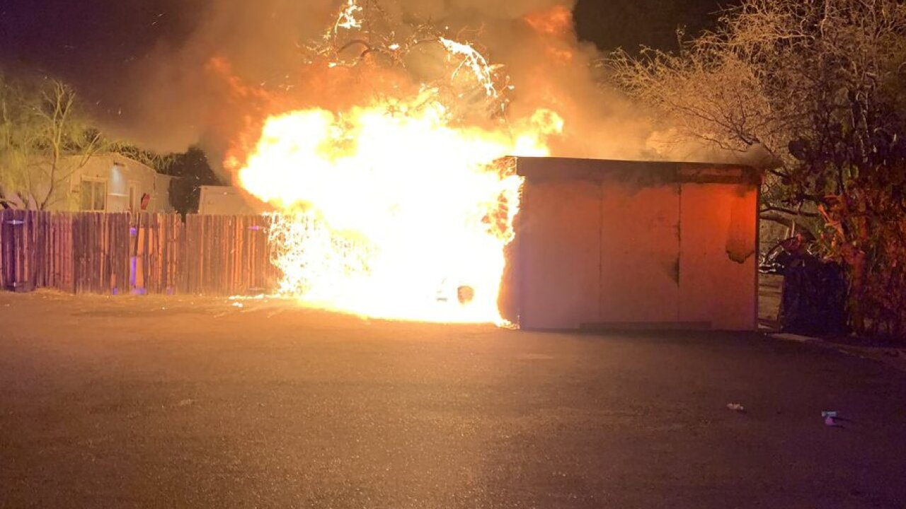 Tucson Fire crews put out a yard fire near Flowing Wells and Roger at 2 a.m. Tuesday. Photo courtesy Tucson Fire.