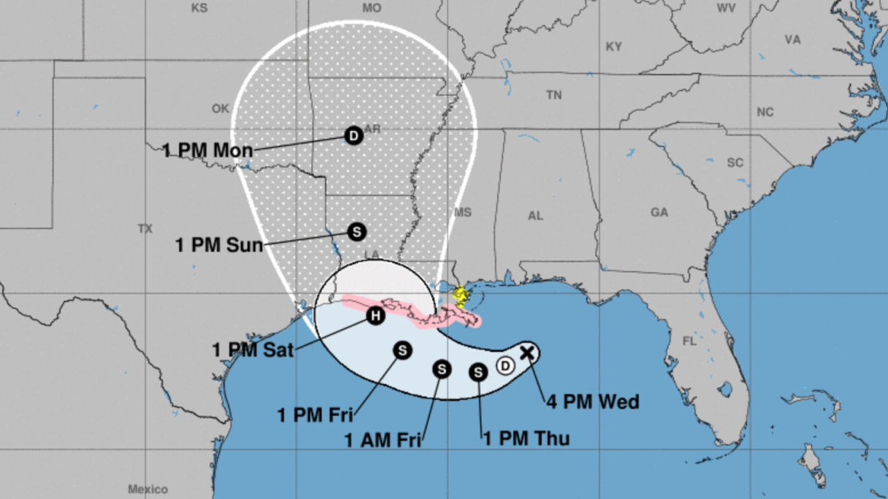 Hurricane watch issued for Louisiana coast