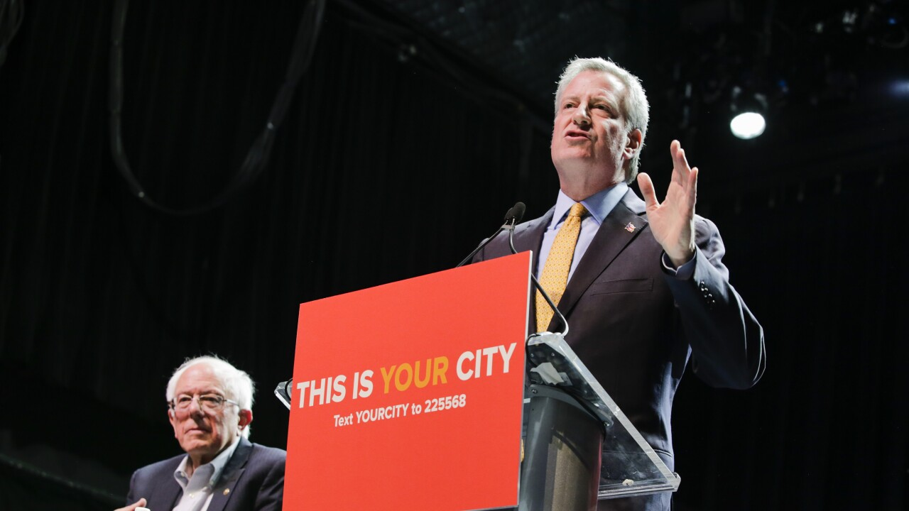 Bernie Sanders Attends Campaign Rally For NYC Mayor Bill De Blasio