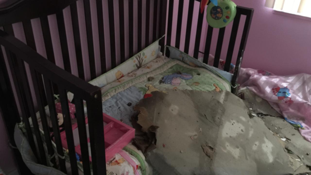Baby safe after tree falls onto nursery