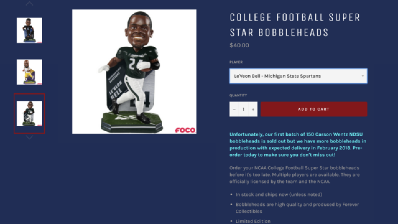 Le'Veon Bell bobblehead in Spartans uniform unveiled