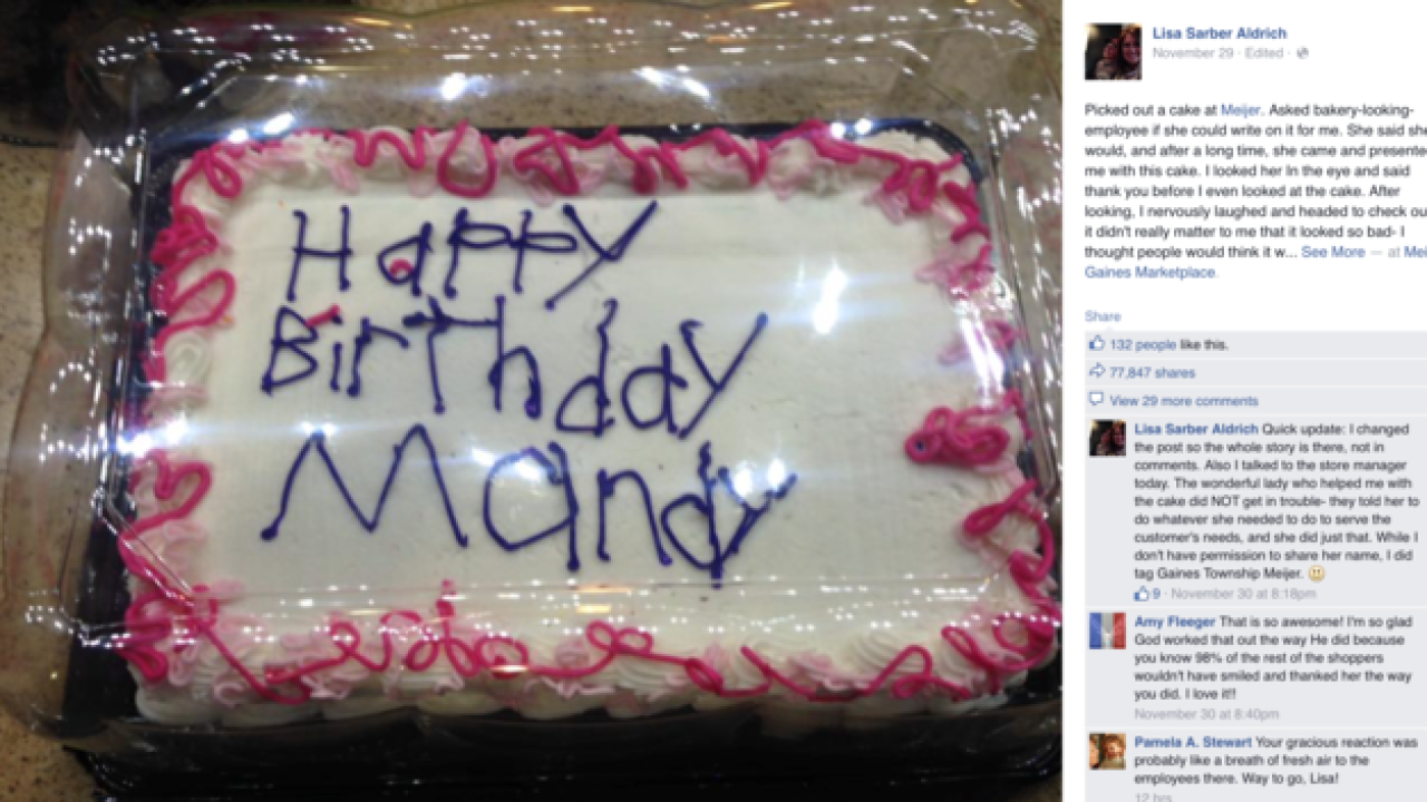 Birthday Cake Post From MI Woman Goes Viral