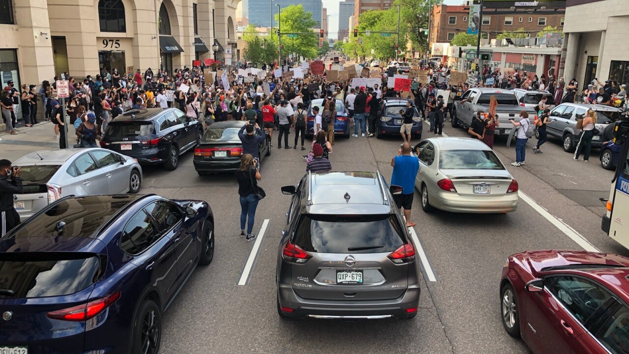 Driver runs over protester at George Floyd protest in Denver