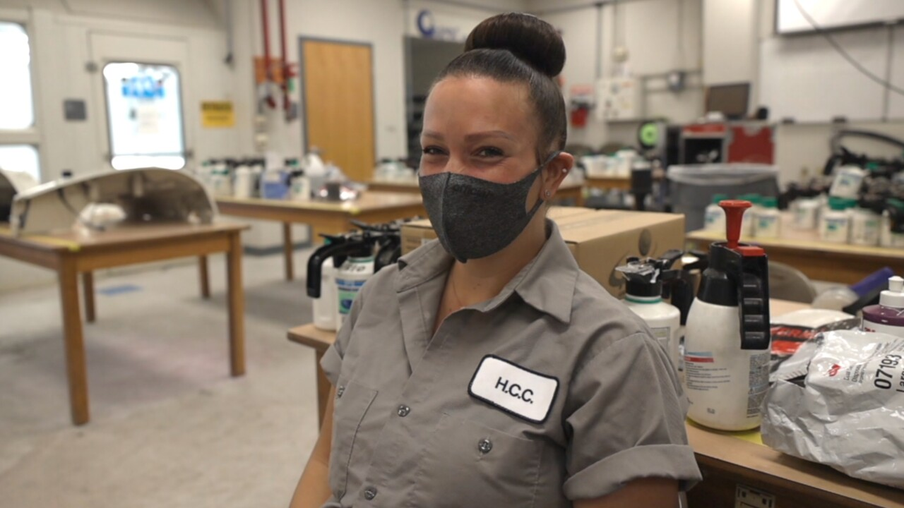 Elissa McClure student in auto collision course at Hillsborough Community College.