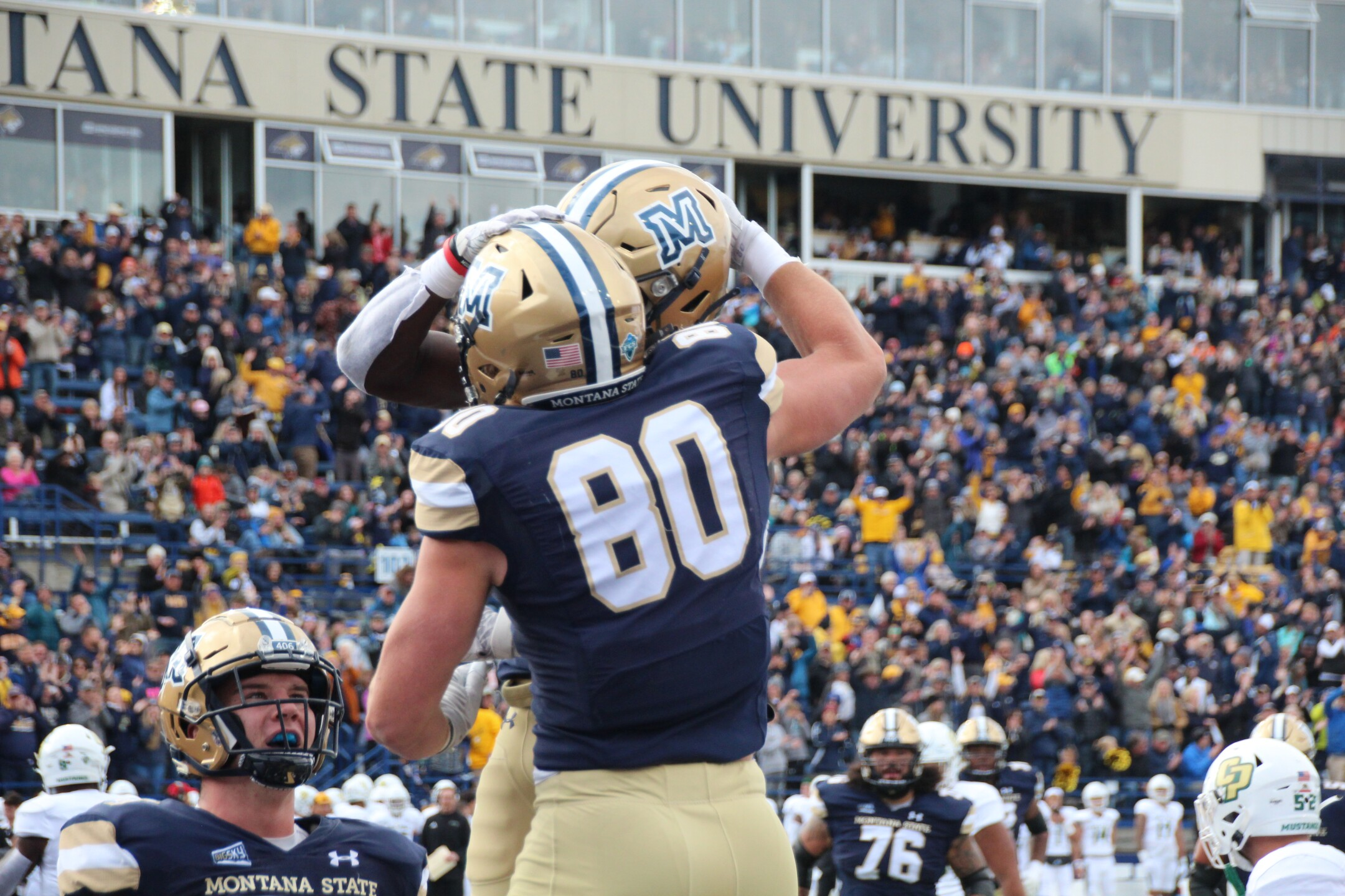 Treyton Pickering celebrates a touchdown grab in the first quarter