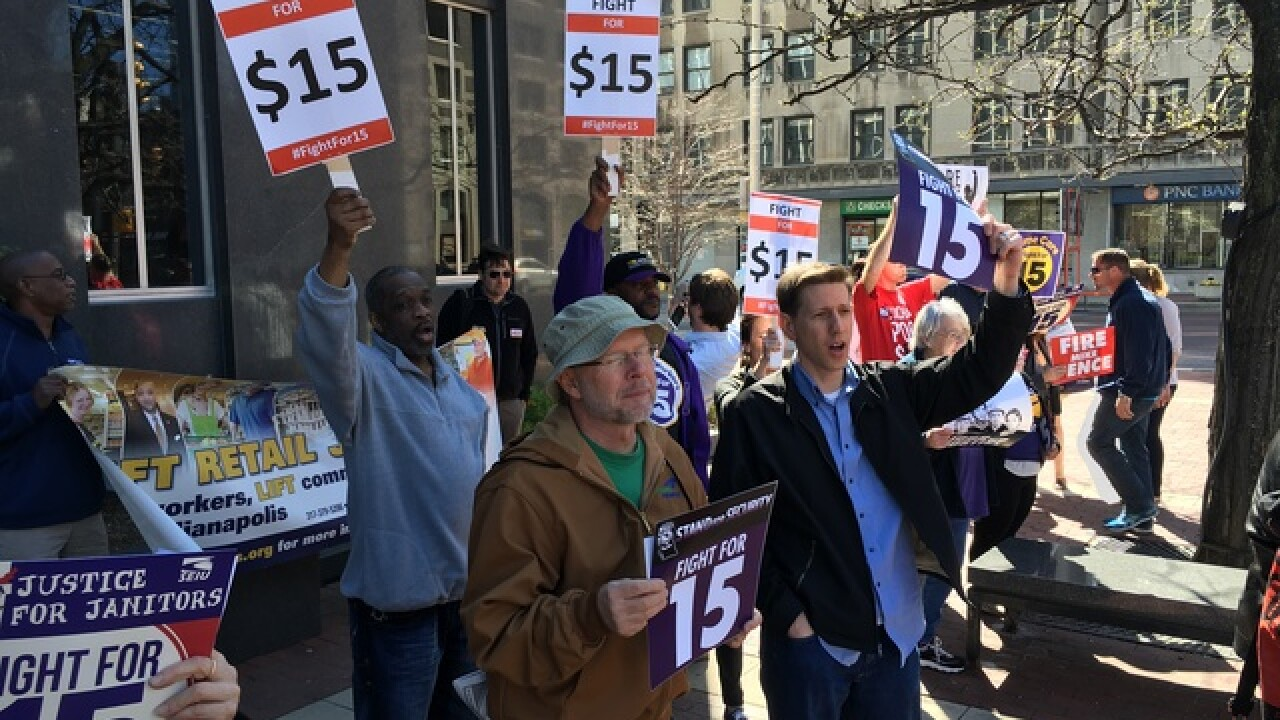 PHOTOS: Fight for 15 rally at Monument Circle