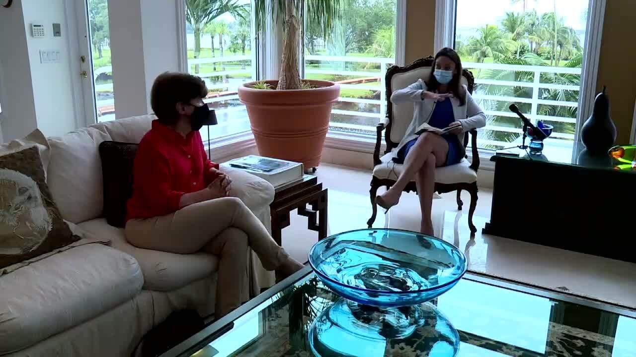 Nikki Fried speaks with Dr. Edie Widder in Sewall's Point, Aug. 4, 2021