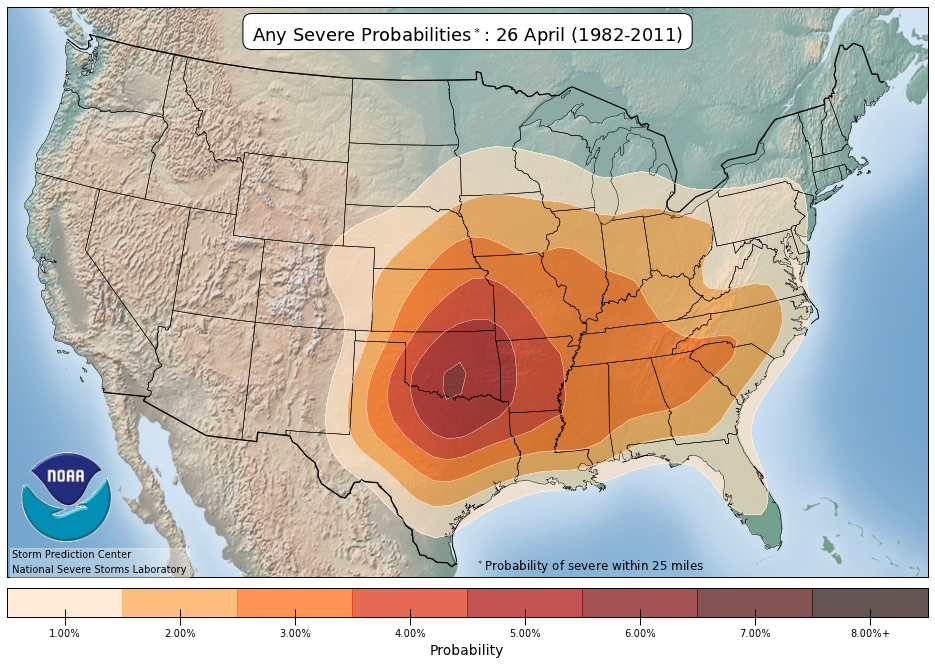 Severe Weather Probabilities On April 26 (30 Year Average)