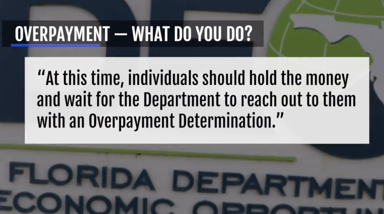 Statement from Florida Department of Economic Opportunity on overpayment