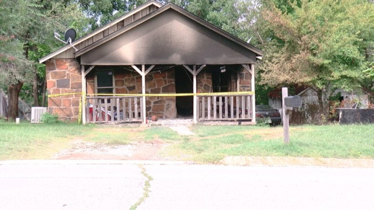 A house catches fire in Sand Springs