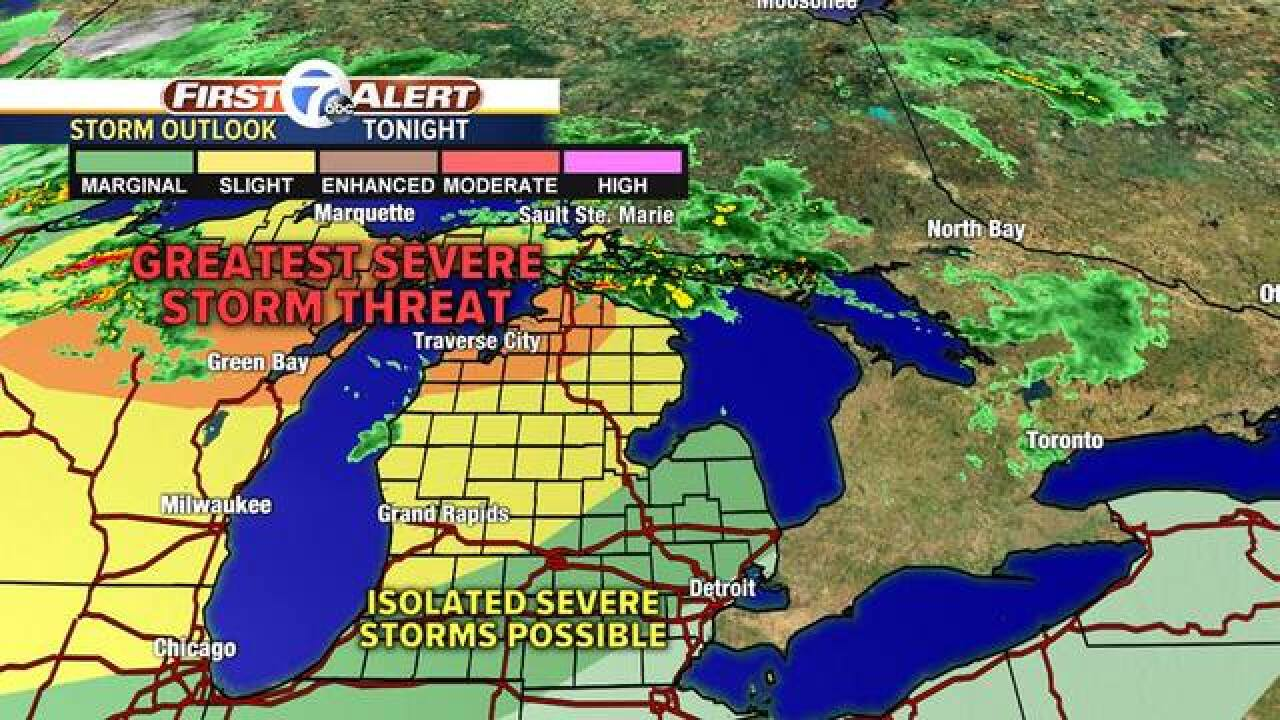 Northern Michigan facing severe weather tonight, storms also forecasted for metro Detroit
