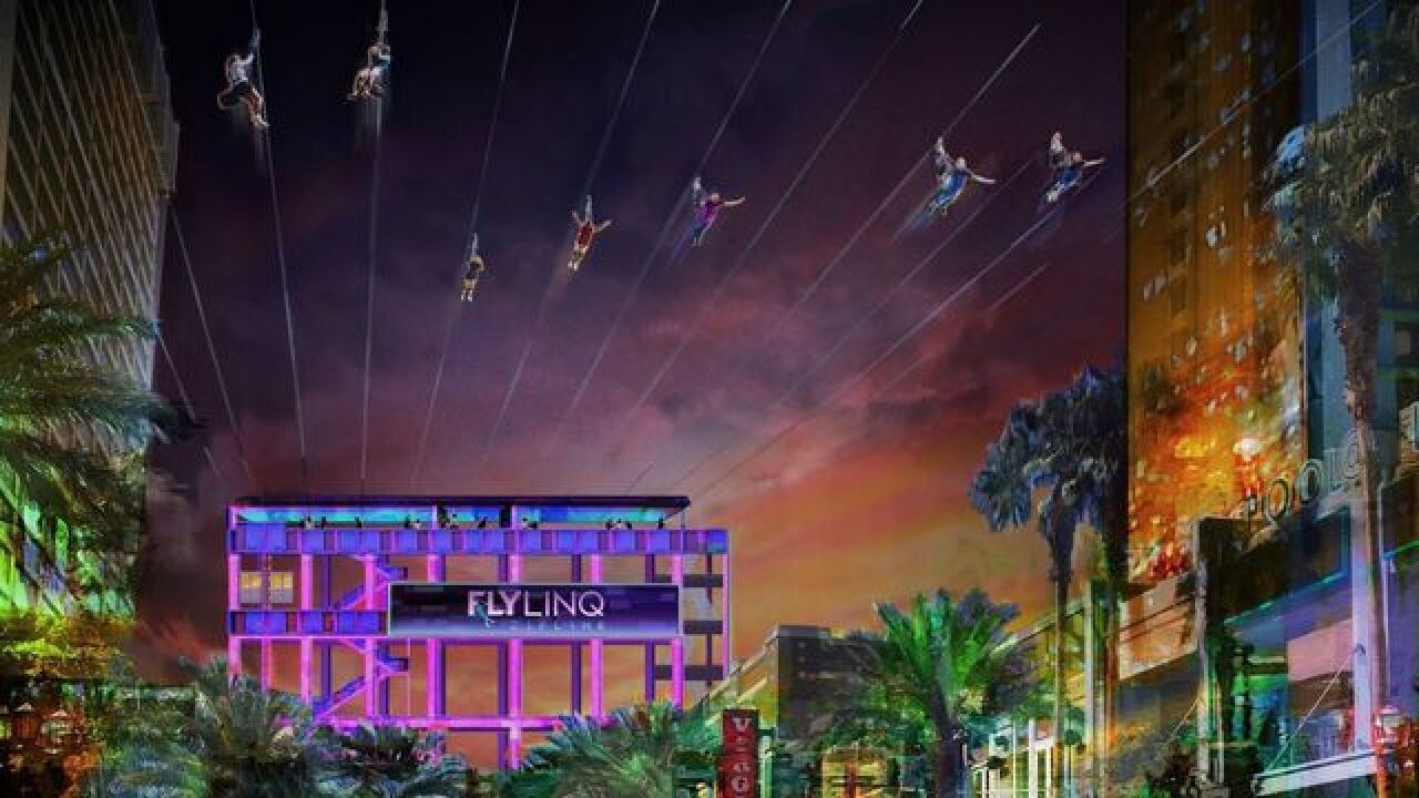 First zip line installed at The LINQ Promenade