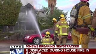 Fire destroys house in Ramona