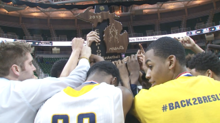 2014-15 Godwin Heights boys basketball celebrates state championship