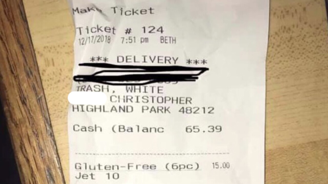 Pizza eatery apologizes after labeling Michigan customers 'White Trash' on receipt
