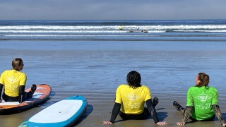 Veterans learning to surf at Pismo Beach