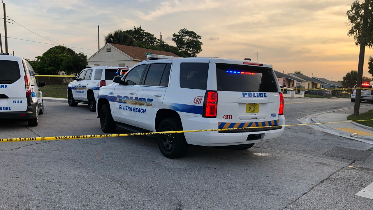 Heavy police presence in the 800 block of West 5th St. in Riviera Beach on April 23, 2020 after an infant was shot.