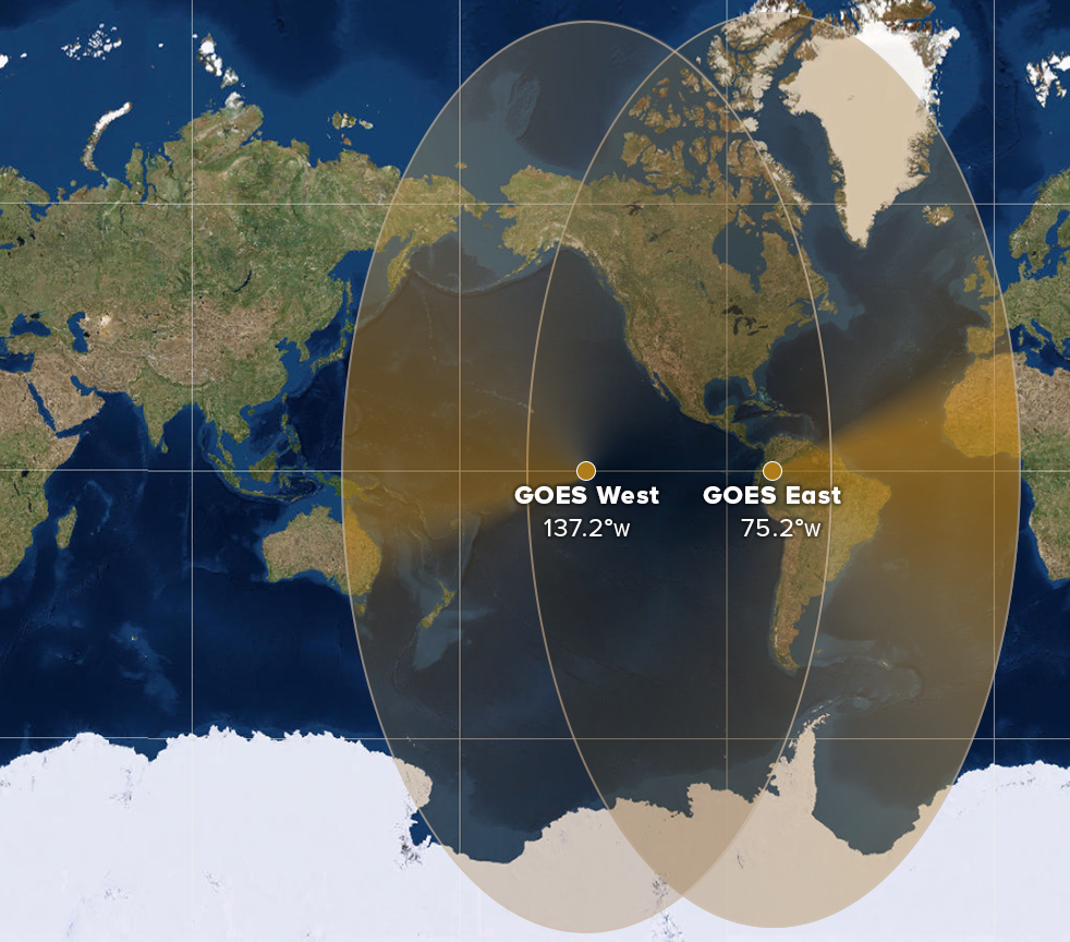 Map showing the geographical coverage of the GOES East and West satellites. (NOAA)