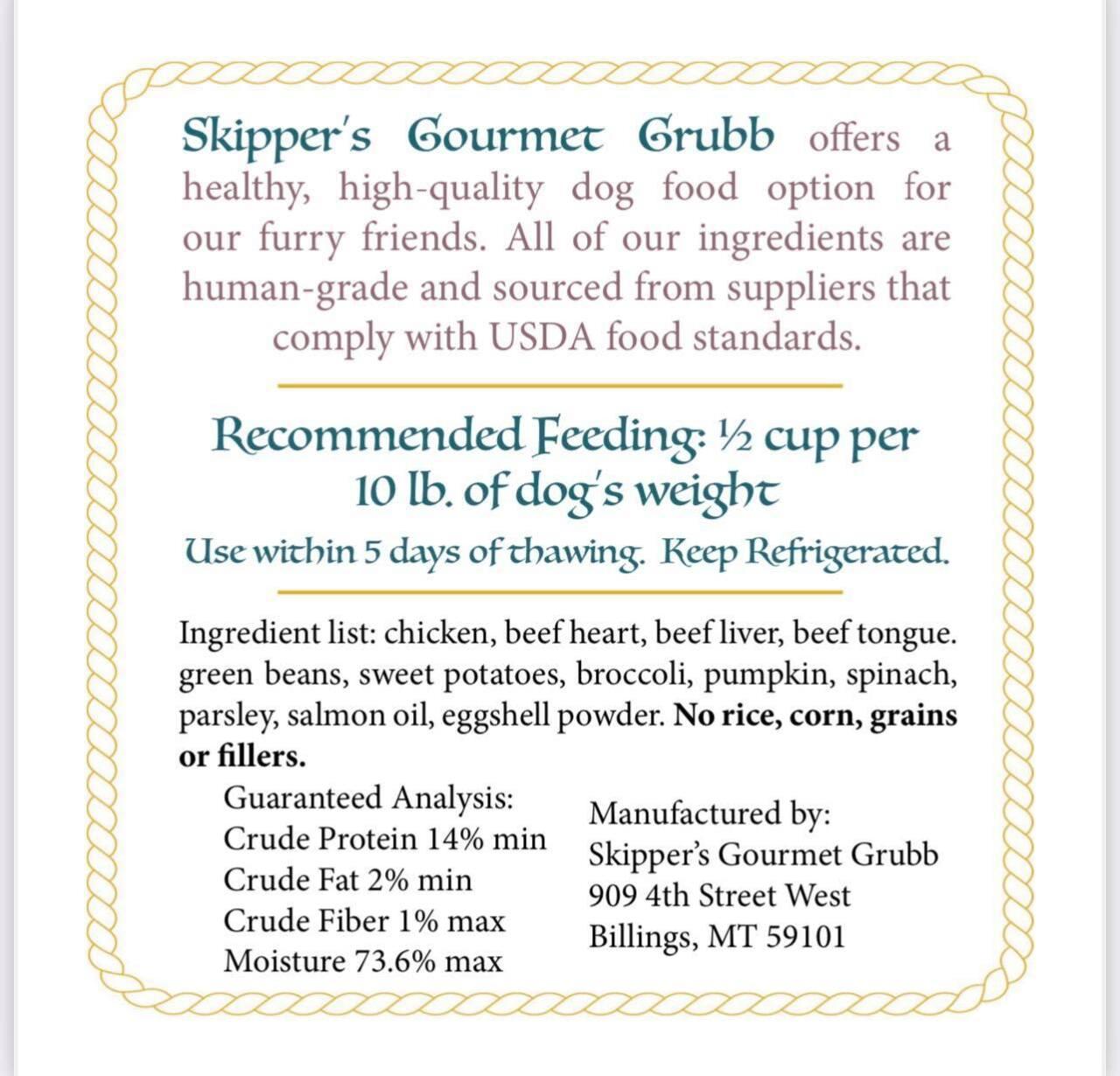 Skipper's Gourmet Grubb ingredients
