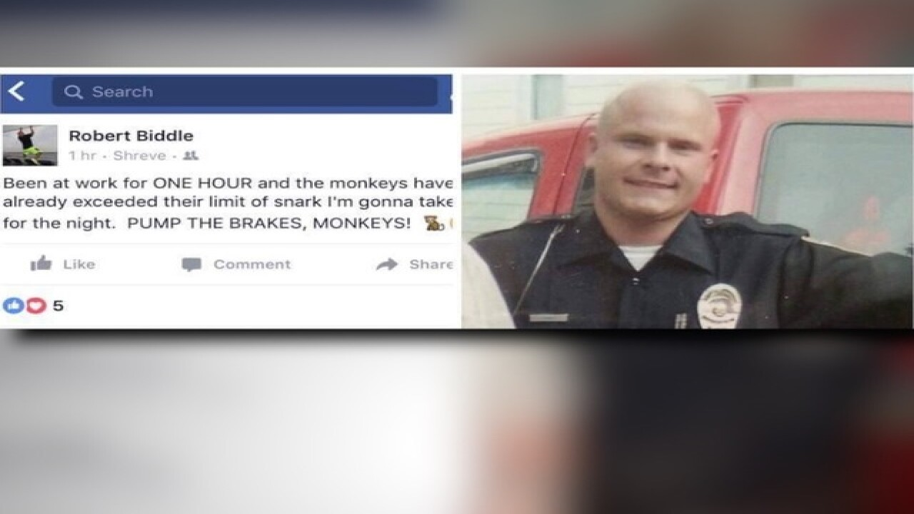 Local cop suspended after 'monkey' post