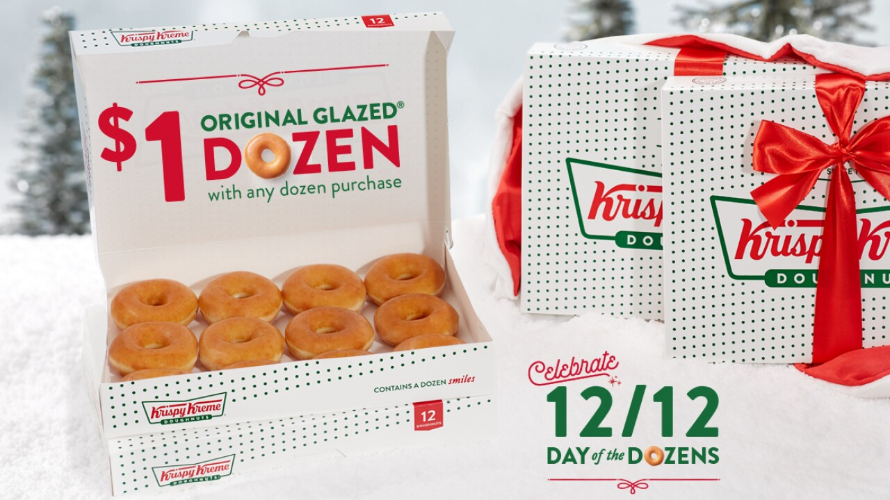 Get a dozen Krispy Kreme doughnuts for $1 on Thursday