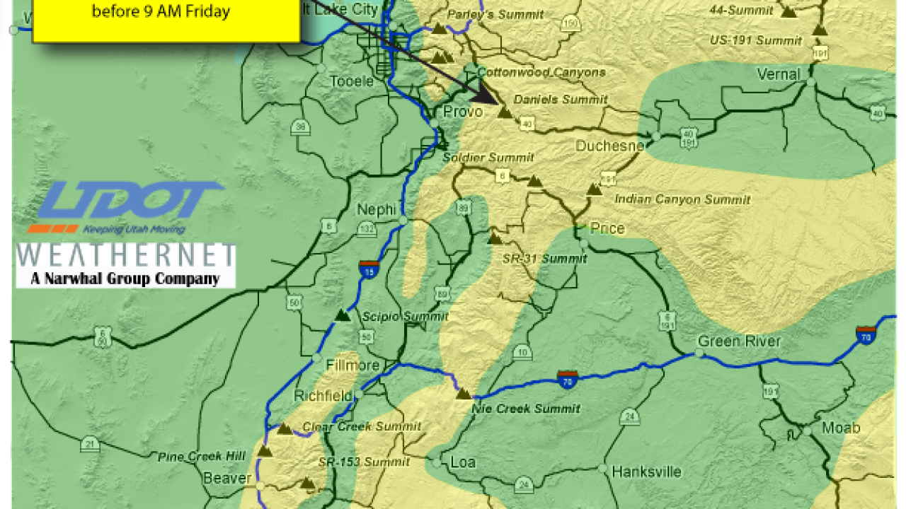 UDOT warns drivers about slush in the valleys, snow in the mountains Friday