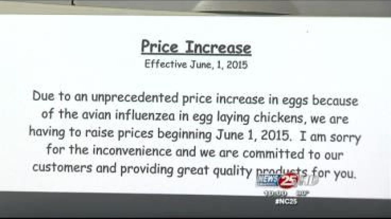Businesses, customers notice price increase due to egg shortage
